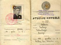 Kauno universiteto Technologijos fakulteto Chemijos skyriaus I kurso studento Antano Šukio studijų knygelė, 1940 m.