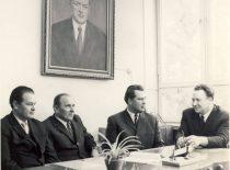 Profesoriai V. Klusis, J. Degutis, B. Milukas ir S. Kutkevičius, 1980 m.