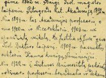 Prof. Jono Mačiulio Maironio autobiografija, 1927 m. (Originalas – KTU muziejuje)