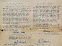 Lietuvos atinacinės rezistencijos buvusių politinių kalinių sąjungos įgaliojimas A. Damušiui, 1947 m. (Iš A. Damušio šeimos archyvo)
