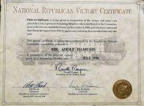 JAV Prezidento R. Reigano padėka A. Damušiui už paramą, 1980 m. (Iš A. Damušio šeimos archyvo)