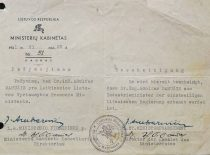 Pažymėjimas, kad A. Damušis yra Lietuvos laikinosios vyriausybės pramonės ministras, 1941 m. birželio 28 d. (Iš A. Damušio šeimos archyvo)