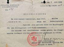 VDU rektoriaus J. Gravrogko pažymėjimas. išduotas Technologijos fakulteto dekanui A. Damušiui, 1943 m. (Iš A. Damušio šeimos archyvo)