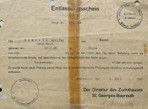Pažymėjimas apie A. Damušio išlaisvinimą iš nacių kalėjimo, 1945 m. (Iš A. Damušio šeimos archyvo)