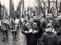 A. Karoblis Nepriklausomybės šventės mitinge Kaune, 1989 m. vasario 16 d. (Iš A. Karoblio šeimos archyvo)