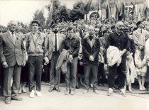 Sąjūdžio mitingas Kaune, Dainų slėnyje,1989 m. Iš dešinės: A. Patackas, R. Paulauskas, K. Uoka, E. Klumbys. (Nuotr. D. Valantino) (Iš A. Patacko archyvo)