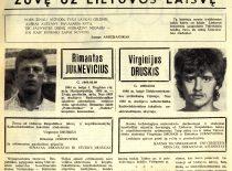 """KTU laikraščio """"Studijų aidai"""" informacija apie 1991 m. sausio 13 d. prie televizijos bokšto žuvusius studentus Rimantą Juknevičių ir Virginijų Druskį."""