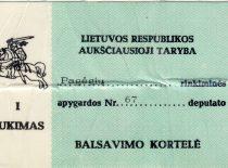 A. Karoblio balsavimo kortelė, 1990–1992 m. (Iš A. Karoblio šeimos archyvo)