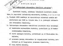 """KPI tarybos 1968 m. sausio 26 d. nutarimo """" Dėl Inžinerinės ekonomikos fakulteto steigimo"""" kopija"""