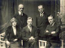 Lietuvos socialdemokratų partijos branduolys, 1921 m. (Iš kairės:) Liuda Purėnienė, Antanas Purėnas, Steponas Kairys, Kipras Bielinis, Vladas Požela. (Originalas – KTU muziejuje)