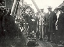 S. Kairys ir burmistras J. Vileišis apžiūri kanalizacijos ir vandentiekio statybos darbus Kaune, 1928 m.