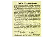 Atsišaukimas, raginantis atsistatydinti tautininkų Vyriausybę, pasirašytas buvusių Prezidentų K. Griniaus ir A.Stulginskio, Ministrų Pirmininkų A.Tumėno, M. Sleževičiaus ir L. Bistro, ministrų P. Karvelio, M. Krupavičiaus ir P. Leono, III Seimo vicepirmininko S.Kairio ir VDU prorektoriaus A.Purėno, 1938 m.
