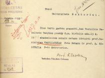Dokumentas iš K. Vasiliausko asmens bylos apie jo išrinkimą technikos fakulteto dekanu, 1927 m.