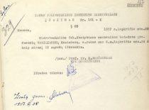 Kauno politechnikos instituto direktoriaus K. Baršausko įsakymas apie prof. K. Vasiliausko išbraukimą iš sąrašų po mirties, 1957 m.