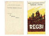 Studijos spektaklių programėlės,1961–1963 m. (Originalai – J. Vengraičio archyve)