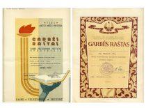 Garbės raštai, kuriais apdovanotas studijos narys Jonas Vengraitis, 1963 m. (Originalai – J. Vengraičio archyve)
