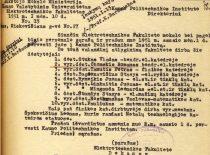 Elektrotechnikos fakulteto dėstytojų valandininkų sąrašas, 1951 m. (Originalas – KTU archyve)