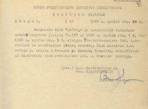 KPI direktoriaus įsakymas apie Automatikos ir skaičiavimo įtaisų katedros įkūrimą ir R. Chomskio paskyrimą jos vedėju, 1960 m. (Originalas – KTU archyve)