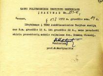 KPI rektoriaus M. Martynaičio įsakymas, kad prorektorius mokslo reikalams R. Chomskis pavaduos rektorių, kol šis bus išvykęs į SSRS Aukščiausiosios Tarybos sesiją, 1972 m. (Originalas – KTU archyve)