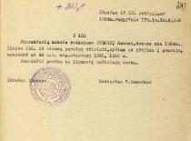 KPI rektoriaus V. Domarko įsakymas apie prorektoriaus R. Chomskio išėjimą į pensiją, 1984 m. (Originalas – KTU archyve)