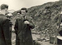 KPI Hidrotechnikos fakulteto asistentas V. Paliūnas Kauno hidroelektrinės statyboje, 1956 m.