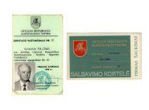 Lietuvos Respublikos Aukščiausiosios Tarybos deputato V. Paliūno pažymėjimas ir balsavimo kortelė, 1990 m.