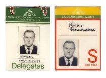 P. Varanausko Sąjūdžio steigiamojo suvažiavimo delegato ir Sąjūdžio seimo nario pažymėjimai, 1988–1989 m.