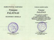 V. Paliūno habilituoto daktaro diplomas, 1993 m.