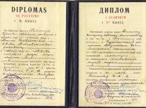 KPI Hidrotechnikos fakulteto baigimo diplomas su pagyrimu, išduotas V. Paliūnui 1954 m.