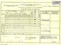 Kėdainių I gimnazijos moksleivio V. Paliūno 8-osios kalsės baigimo pažymėjimas, 1949 m.
