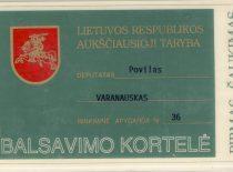 P. Varanausko balsavimo kortelė, 1990–1992 m.