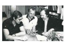 Inž . A. Skrebė, aspirantas K. Vainauskas ir dr. A. Lukoševičius,1985 m.