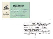 Lietuvos Respublikos Aukščiausiosios Tarybos deputato A. Karoblio balsavimo kortelės, 1990–1992 m.