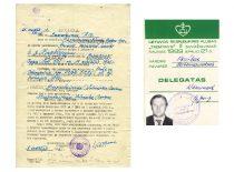 """P. Varanausko tėvo reabilitacijos pažymėjimas ir klubo """"Tremtinys"""" suvažiavimo delegato pažymėjimas."""