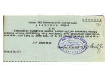 KVVDU rektoriaus įsakymas apie doc. A. Gravrogko atleidimą už anketinių duomenų nuslėpimą, 1948 m. (Originalas – KTU archyve)