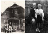 Prie šeimos Medvilionių dvaro: kairėje – A. Gravrogkas su žmona, seserimi Rozalija ir sūnaus Vytauto-Kristupo šeima, 1956 m.; dešinėje – su dukra Dita, 1957 m. (Originalas – Gravrogkų šeimo archyve)