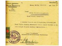 Vidaus reikalų ministerijos pranešimas, kas Kauno miesto burmistrui A. Gravrogkui leidžiama dėstyti Vytauto Didžiojo universitete, 1932 m. (Originalas – KTU archyve)