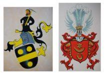 Giminės herbai: kairėje –1315 m. herbas Reino krašte, dešinėje – Lietuvos Didžiosios kunigaikštystės Gravrogkų herbas.