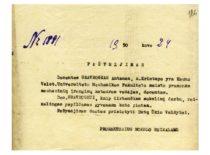 KVVDU prorektoriaus raštas dėl papildomo gyvenamo ploto skyrimo doc. A. Gravrogkui, 1950 m. (Originalas – KTU archyve)