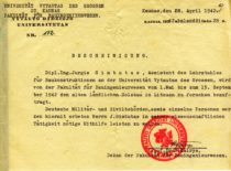 Pažymėjimas, išduotas asistentui J. Gimbutui, su Statybos fakulteto dekano prof. S. Kairio parašu, 1942 m. (Originalas – KTU muziejuje)