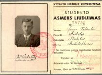 Statybos fakulteto Architektūros skyriaus studento Jono Vytauto Nistelio pažymėjimas, 1942 m.