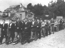 Statybos fakulteto 1-ojo kurso studentai grįžta iš karinio parengimo paskaitos rikiuotės pratybų, 1949 m. (Nuotr. iš B. Januševičiaus asmeninio archyvo)