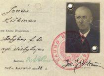 Statybos fakulteto vyr. dėstytojo Jono Kiškino pažymėjimas, 1941 m.