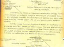 LSSR švietimo liaudies komisaro pavaduotojo J. Žiugždos raštas rektoriui A. Purėnui, kuriame nurodoma nutraukti visus ryšius su užsienio firmomis, 1941 m. balandžio 9 d. (Originalas – KTU archyve)