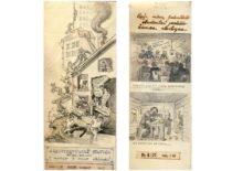 Karikatūros iš Architektūros fakulteto III kurso studentų sienlaikraščio, 1949 m. (Originalas – KTU muziejuje)