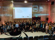 """Statybos ir architektūros fakulteto kartu su partneriais iš Didžiosios Britanijos projekto """"Design. Engineer. Construct! Lithuania"""" (DEC LT) atidarymo akimirka, 2019 m."""