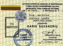 J. Lukšos kario savanorio pažymėjimas, išduotas po mirties 1997 m. (Lukšų šeimos archyvas)